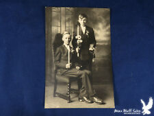 Antique Photo Religious 2 Boys Confirmation? Rosary Beads Bibles Candles Flowers