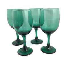 Libbey Water Goblet Dark Green Wine Glass Set of 4 11 oz 7 1/4 Inch Crafted USA