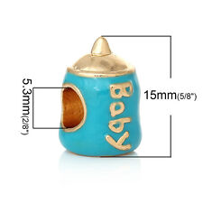 "Baby Shower Charms ""Baby Milk Bottle"" Charm Bead  for Most European..."