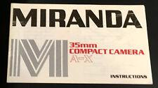 Original Miranda A-X Camera Instruction Booklet
