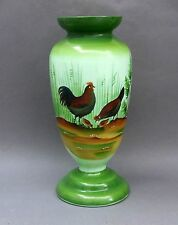 "Victorian Green Opaline Glass VASE ~ Cockerel & Hen Enamel ~ 11"" / Chickens"
