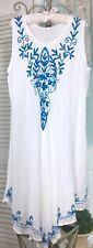 NEW ~Plus Size 3X 2X 1X White Turquoise Blue Embroidery Midi Boho Beach Dress