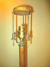 Rare ADJUSTABLE antique BRASS LAMP BASE parts / repair INDUSTRIAL signed: METEOR