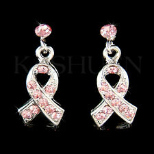 w Swarovski Crystal Support ~Breast Cancer~ Awareness Pink Ribbon Stick Earrings