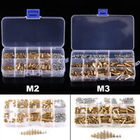 300pcs M3 M2 Brass Hex Column Standoff Spacer Screw Nut Assortment Kit F-F M-F
