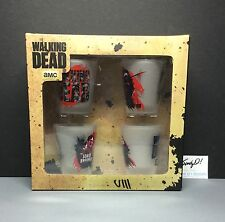 AMC The Walking Dead 2014 Frosted SHOT GLASSES (SET of 4) NEW