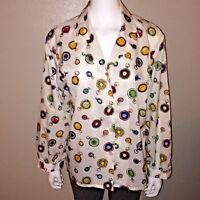 Suburbans Button Down Shirt Size 10 Womens Pocket Watch Art Retro Blouse Top