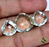 30.26 Cts Natural Green Amethyst Pear Checker Cut 3 Pcs Set Loose Gemstones