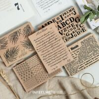 Wooden Rubber Stamps Multi-functional Words Leaves Scrapbooking Decor 8.5x12.5CM