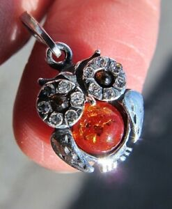 Amber Crystal owl pendant Swarovski eyes Silver stamped 925 Fossil luck small