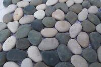 Sample  Beige & Black River  Pebble Mosaic wall floor tiles on mesh for bathroom