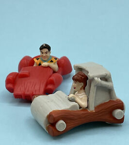 2 Vintage Mcdonalds Happy Meal Toys Flintstones Fred & Wilma Flintmobile Cars