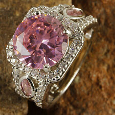Cute Women Round Pink White Topaz Gemstone Silver Ring Wedding Jewelry Size 7-10