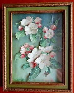 Jan Voerman Framed Apple Blossoms 3D Picture Mixed Media Art Shadow Collage Box