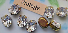 Vintage Oval Rhinestones Crystal Prong Pronged Setting Glass 6x8mm NOS #910