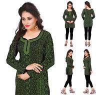 Women Fashion Indian Short Kurti Tunic Tank Green Kurta Kurta Dress 36B
