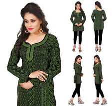Women Fashion Indian Short Kurti Tunic Tank Green Kurta Kurta Dress 36B