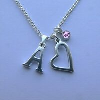"""Personalised Birthstone November Heart Silver Plated Initial 18/"""" Necklace A to Z"""