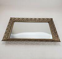 "Vanity Mirror Tray Vintage Rectangle Gold Tone Filigree Ornate 15"" x 10"" Frame"