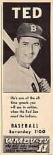 1958 TV BASEBALL AD~TED WILLIAMS BOSTON RED SOX HALL OF FAMER~WMBV GREEN BAY,WI