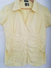 Women's Cotton Express Stretch Butter Yellow Pleated Smocked Accent Top Shirt 2X
