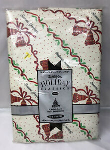 """Vtg 1993 Holiday Vinyl Town&Country Tablecloth 52x70"""" Oblong Christmas Bells"""