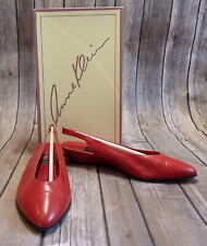 Vintage Anne Klein Red Shoes Mia Red Kid Leather Sling Back Flats Size 7 1/2 M