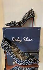 RUBY SHOO JENNA BLACK BOW SLIP ON SHOES 5 38