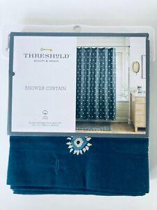 Threshold Blue Flower Dot Sunburst Printed Shower Curtain Navy