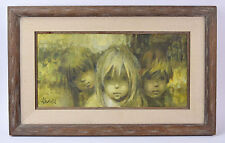 """Vintage 1960's Impressionist Oil Painting """"Three Faces"""" Group Children signed"""
