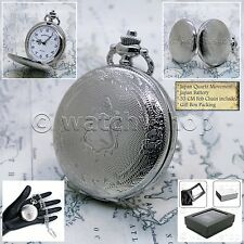 MANHATTAN Silver Pocket Watch Unisex 42 MM with Curb Link Chain & Gift Box P191