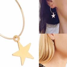 Boho Fashion Simple Large Circle Star Hoop Earrings Women Vintage Jewelry Party