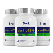 Vitamin D3 5000 IU & K2 100 mcg (mk7)3x 240(720) vegetarian tablet %100 uk made