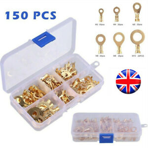 150Pcs Brass Insulated Crimp Ring Terminals Wire Connectors Spade Electrical Set
