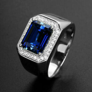 14k White Gold Over Emerald Blue Sapphire Mens Engagement Wedding Band Ring