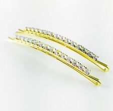 USA WOMENS Bobby Pin Hairpin Hair Clip Rhinestone Crystal Wedding Gold AB 02