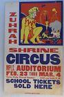 ZUHRAH SHRINE CIRCUS POSTER MINNEAPOLIS AUDITORIUM 1960'S SCHOOL TICKETS