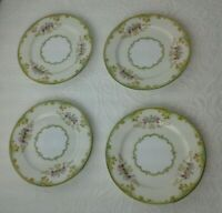 """4 Noritake China WINTON Bread Butter Plates  Green Yellow Floral Mint 6 1/2"""""""