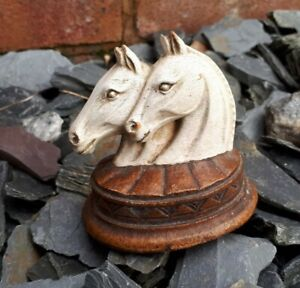 Beautiful SyrocoWood Two Horses Painted Carving Ornament Made In USA