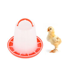 1.5kg red plastic feeder baby chicken chicks hen poultry feeder lid & handle  Z
