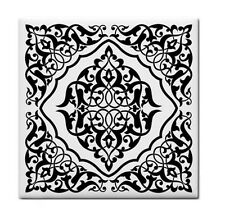 MOROCCAN black and white Ceramic WATERPROOF WALL FEATURE Tile Coaster 87389560