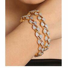 Indian Gold Plated Leaf Design White CZ Zircon Bangle Bracelet Bollywood Jewelry
