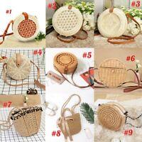 Handmade Women Straw Rattan Beach Bag Crossbody Shoulder Handbag Summer Bohemia