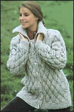 Vintage Knitting Pattern • Ladies Textured Chunky Jacket Cardigan • Warm & Cosy