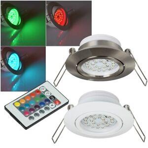 RGB LED Decken Einbau-Leuchte 230V 3W mit Fernbedienung Einbaustrahler Spot