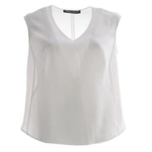MARINA RINALDI Women's White Bivio Sleeveless V-Neck Blouse $205 NWT