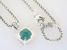 DAVID YURMAN PETITE ALBION GREEN ONYX  DIAMOND w/ adj 17 IN NECKLACE