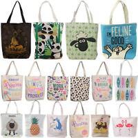 Ladies Cotton Tote Shoulder Bag Tote Reusable Shopping Foldable Womens Handbag