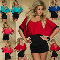 Top Womens Mini Dress Clubbing Blouse Ladies Party Sexy New Shirt Size 6 8 10 12