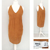 Mango MNG M Dress 10 12 Tan Brown Shift V Neck Tunic Casual Suedette Office Work